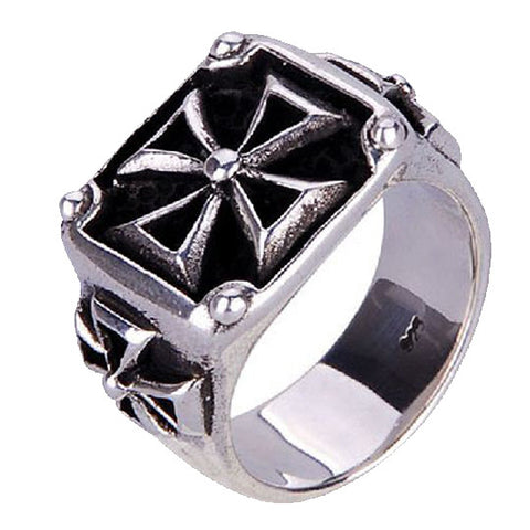 .925 Thai Silver Iron Cross Ring for Men Fine Jewelry for Guys