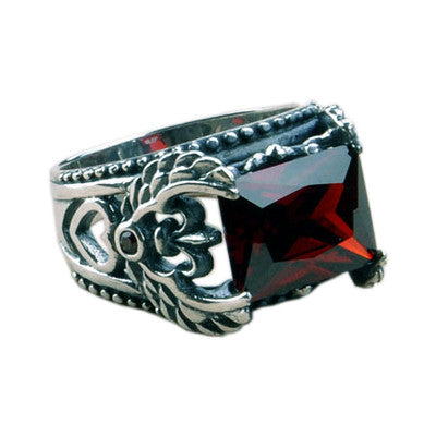 Handsome Ruby Red Ring Made of .925 Thai Silver for Men's Classy Fashion