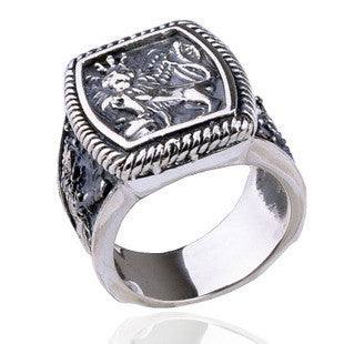 .925 Thai Silver Men's Sterling Jewelry Thick Lion Ring