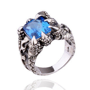 Blue Zirconium Gemstone Ring for Men's Jewelry Crystal Dragon Claw