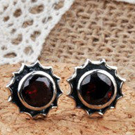 Men's Retro Fashion Earring .925 Sterling Silver & Crystal for Men (ONE EARRING)-Color Red Agate