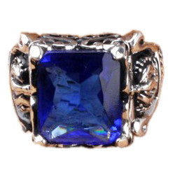 Ares Dragon Knight Blue Crystal Pure Silver Men Ring
