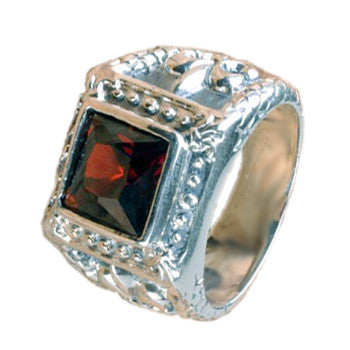925 Sterling Silver Faceted Large Red Square Gem Royal Crown Cast Ring -Size 8