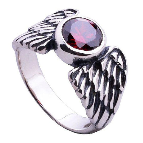 Gorgeous Angel Wing Ring Inlaid Red Zirconium Crystal Fine Jewelry for Men