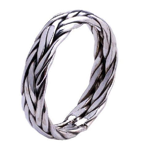 Elegantly Braided .925 Thai Silver Ring Jewelry for Men's Fashion Jewelers-Size 5