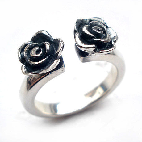 .925 Thai Silver Open Eded Double Rose Rings for Women's Style Jewelry