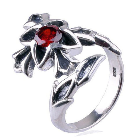 Elegant Ring With Open Ended Design Made of .925 Silver & Inlaid Gemstone