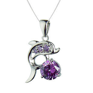 Natural Amethyst Crystal Necklace Sterling Silver Jewelry for Women