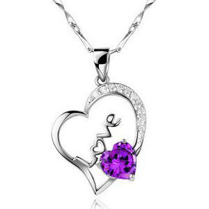 Sterling Silver Necklace LOVE White Gold Heart Jewelry for Women