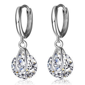 2K Swiss Diamond Crystal Earrings .925 Sterling Plated Platinum Jewelry