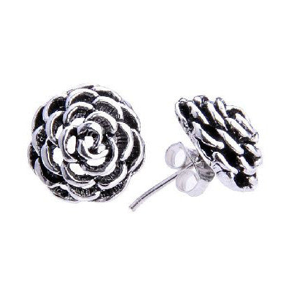 Gorgeous Sterling Thai Silver Rose Earrings for Women's Fashion Jewelry