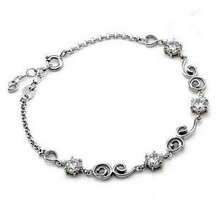 .925 Silver Plated Platinum Mosaic Heart Bracelet for Women's Fashion