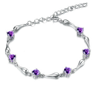 .925 Sterling Silver Plated Platinum Bracelet With Amethyst Stone