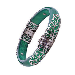 Green Agate Natural Stone Bracelet Thai Silver Jewelry for Women