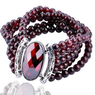 National Bhoemian Retro Jewelry Red Garnet Thai Silver Bracelet for Women