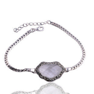 Gorgeous Garnet Gemstone Crystal Thai Silver Locket Bracelet for Women