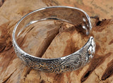 .990 Pure Sterling Silver Open Styled Bracelet Bangle for Men & Women's Fashion