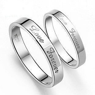 Silver Plated Platinum .925 Sterling Silver Couples Ring for Men's Jewelry