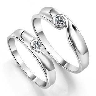 .925 Sterling Silver Plated Pltainum Couples Ring for Men Zirconium Diamond Crystal