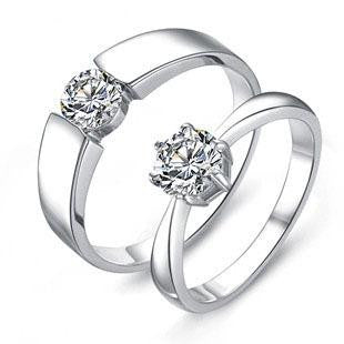 Handsome Zirconium Diamond Ring .925 Sterling Silver Couples Jewelry for HER