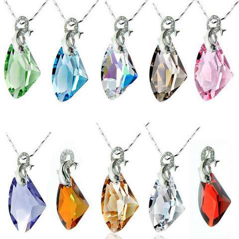 Colored Austrian Crystal Diamond Pendant Dolphin Lovers Necklace Jewelry-Color Blue