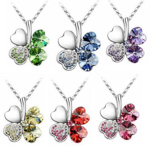 Lucky Four Leaf Clover Pendant Silver Alloy Necklace Austrian Crystal Gemstones-Color Red