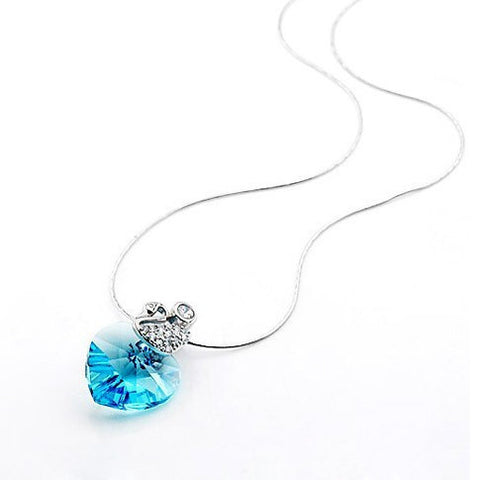 Ocean Blue Crystal Austrian Imported Gemstone Pendant Sterling Silver Necklace