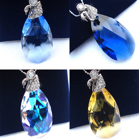 SILVER CHAIN Necklace Angel's Tears Imported Austrian Crystal Pendant-Color Blue