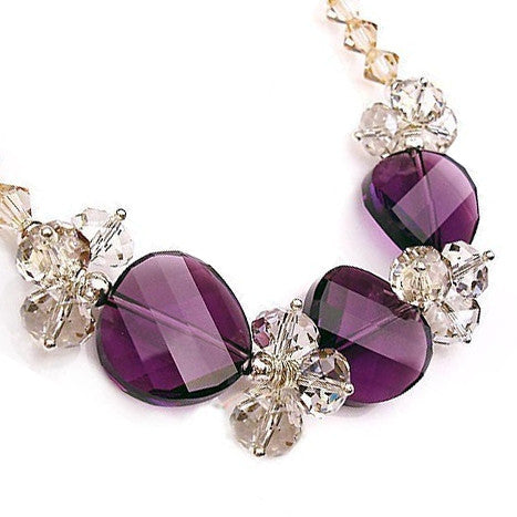 Dreamy Purple Crystal from Austria Necklace for Women's Fine Jewelry Fashion