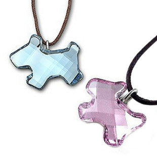 Silver Shaped Puppy Pendant of Austrian Crystal Gem Stone-Color Pink
