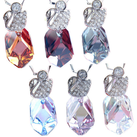 Ice Crystal of Austrian Gem Stone Necklace & Sterling Silver Jewelry-Color Red wine