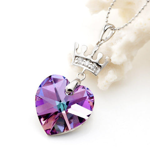 Purple Crystal Gem Stone from Austria Heart Shaped Necklace Jewelry