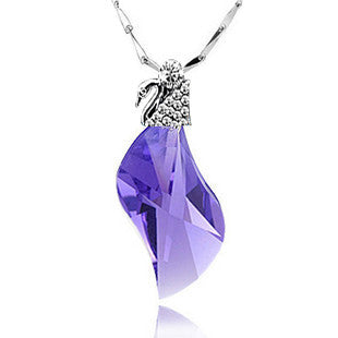 Elegant Austrian Crystal Cupid Angel Wing Pendant Girl's Fashion Necklace-Color Deep Purple