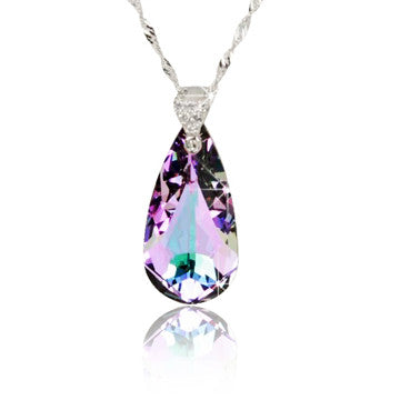 Austrian Crystal Water Droplet Pendant Sterling Silver Women's Necklaces-Color Blue