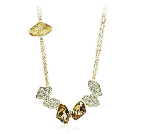 Korean Jewelry Sterling Silver Necklace With Gold Plating