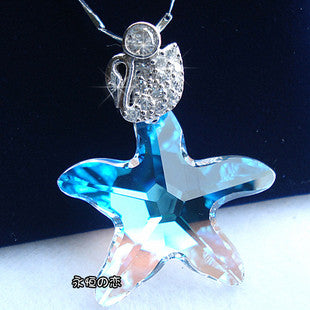 Blue Crystal Star Fish Pendant Sterling Silver Necklace Gem Stone Jewelry-Color Blue