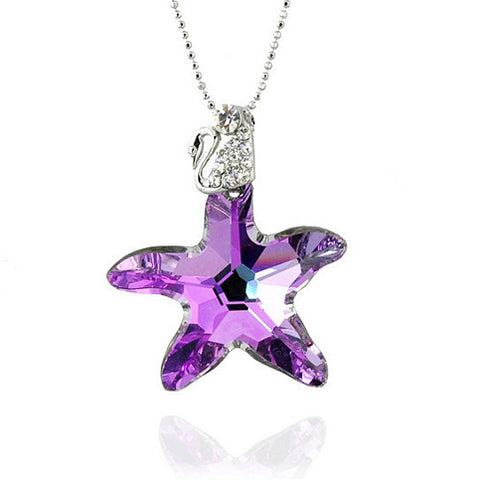 CZ Diamond Crystal Star Fish Pendant Sterling Silver Necklace for Girls