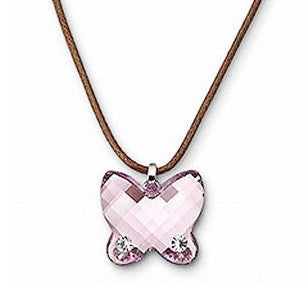Adorable Austrian Crystal Butterfly Pink With Silver Rope Strand