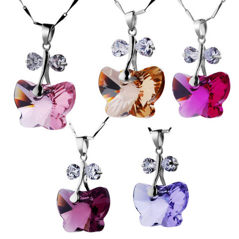 Sterling Silver Necklace With Austrian Crystal Butterfly Pendant-Color Deep Purple