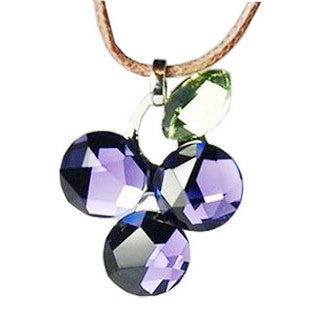 Austrain Crystal Purple Diamond Grape Pendant With Brown Rope Necklace