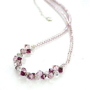 Purple Colored Austrian Crystal Diamond Necklace Love Themed Jewelry