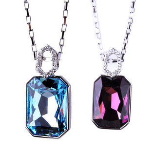 Rectangle Crystal Necklace Imported From Austria With Silver Necklace Chain-Color Blue