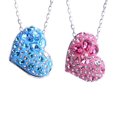 PINK or BLUE Imported Austrian Crystal Necklace Heart Shaped Pendant-Color blue