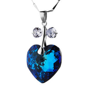 Women's Beautiful Imported Austrian Crystal Heart Pendant Dazzling Necklace