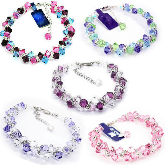 Gorgeous Sterling Silver Imported Crystal from Austria Women's Bracelet for Girls-Color Pink