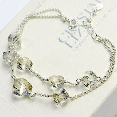 Sterling Silver Chain With Imported Austrian Crystal Chain Bracelet