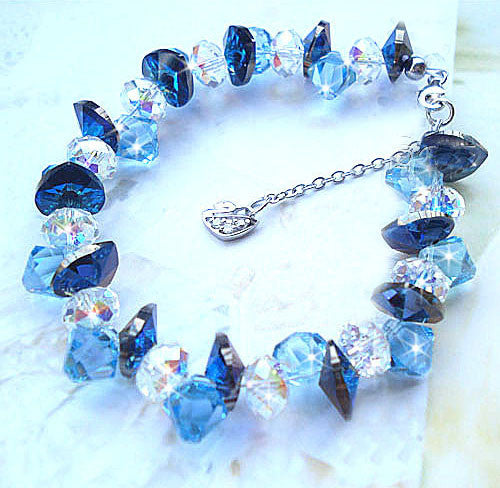 Sterling Silver Bracelet for Girls Austrian Crystal Elegant Jewelry