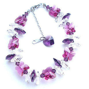 Affectionate Love Bracelet Made of Imported Austrian Crystal & Sterling Silver