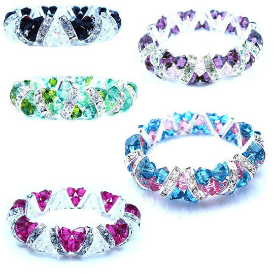 Swarovski Crystal Bracelet Bangle Austrian Crystal Various Colors-Color Pink
