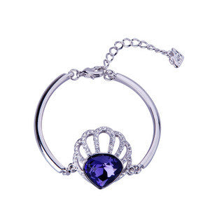 Purple Shell Crystal from Austria Women's Bangle Bracelet